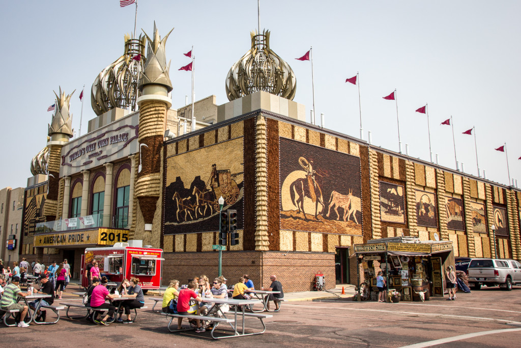 The world's only Corn Palace. The outside walls are decorated anew every year with murals made entirely from corn.