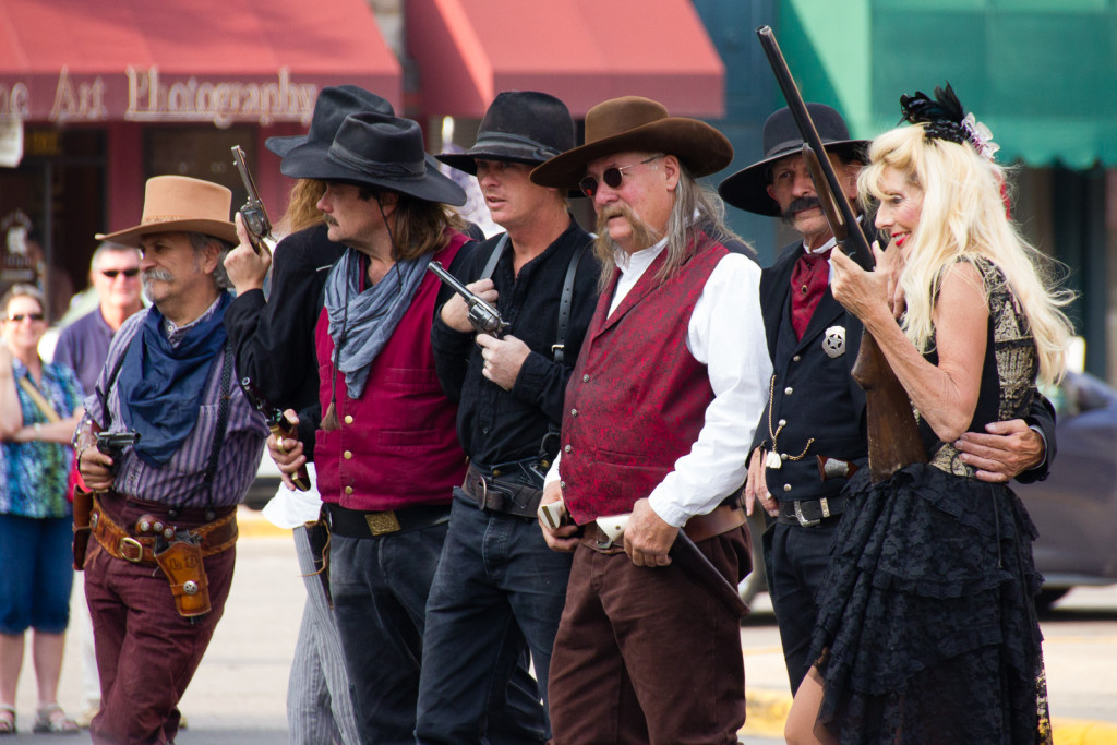 Actors impersonating famous figures from Wild West times at the Irma Hotel shootout in Cody.