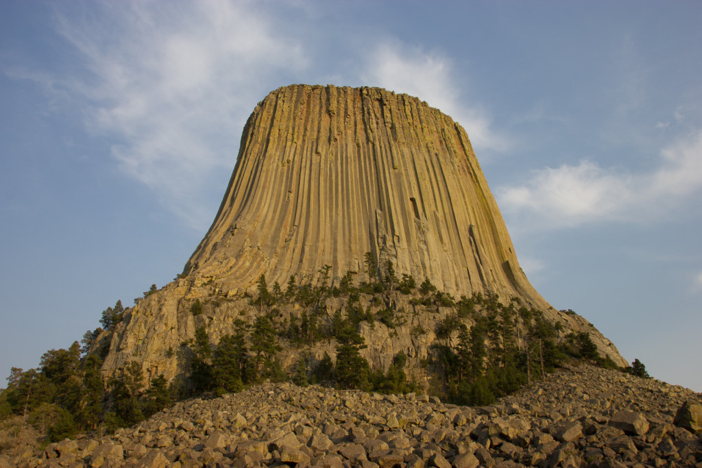 The Devil's Tower. Even late in the evening when it was already dark we could see the lights from rock climbers on their way back down from the top.