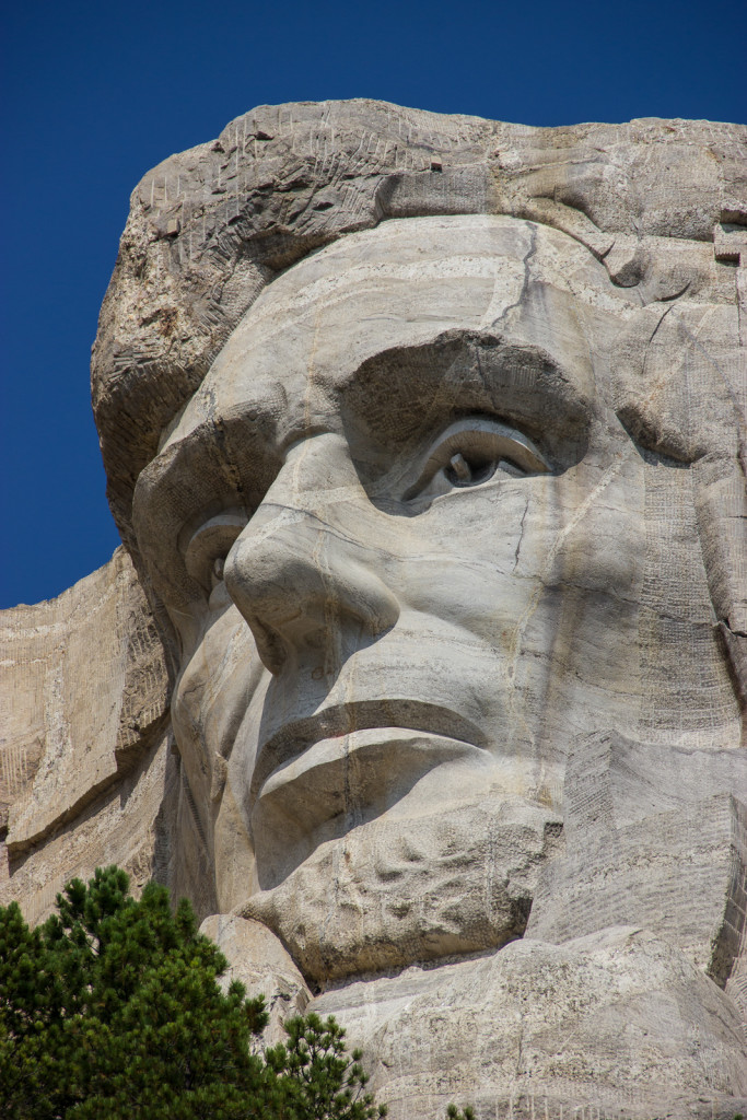 Abraham Lincoln's giant head. The other presidents from left to right are George Washington, Thomas Jefferson and Theodore Roosevelt.