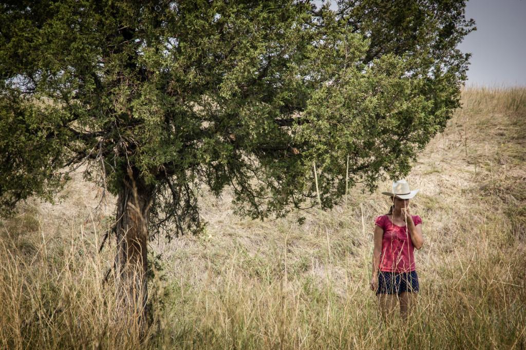 A cowgirl on the prairie.